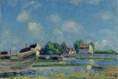 Alfred Sisley - Boats being Repaired at Saint-Mammes [1885]  Sotheby's, London - Oil on canvas, 38.1 x 55.2 cm