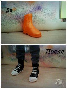 Так как ко мне недавно приехал Декстер без обуви, я перекрасила обувь от подделки под Дьюса под оригинальную обувь Декса.
