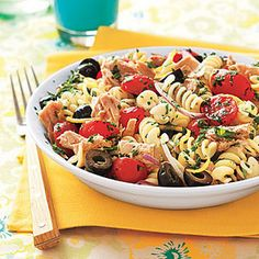 Pasta Salad with Tuna, Olives and Parsley Recipe Salads with salt, pepper, pasta, olive oil, grated lemon zest, lemon juice, cherry tomatoes, chunk light tuna, oil, pitted black olives, purple onion, fresh parsley
