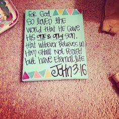 john 3:16 - any bible verse painting. $15.00, via Etsy.