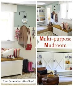 We don't have a dedicated mudroom in our home so we turned a transitional room into a multipurpose mudroom. Loads of easy DIY projects and tutorials created this space that I now cannot live without! :) @Four Generations One Roof