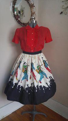 RARE Fabulous 1950's Novelty Print Skirt Elvis by RavishingRetro