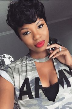 Best short hair black women 2019 for cool African Yankee ladies. we've got the place along the newest fashion pixie haircuts for you. Newest ideas concerning the foremost lovely short hair move face form. Work Hairstyles, Cute Hairstyles For Short Hair, Pixie Hairstyles, Black Women Hairstyles, Summer Hairstyles, Short Hair Cuts, Short Hair Styles, Hairstyles 2016, Natural Hairstyles