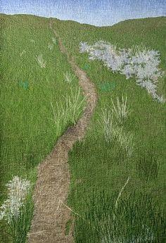 """Cow Trail  ©2008 Jeri L. Flom"" - fiber, in Prairie Series  (thread painting-Montana)"