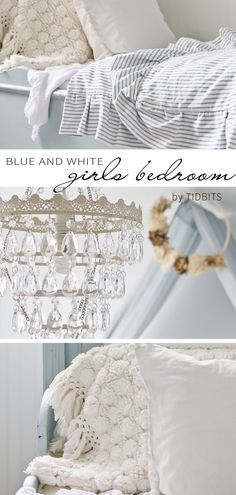 The most serene color palette, fit for any little princess. Must see ALL the charming details of this blue and white girls bedroom makeover. #cottagestyle #farmhousestyle #frenchfarmhouse #blueandwhite #girlsbedroom #makeover #camitidbits #germansleighbed #cottage #farmhouse #girlsroom