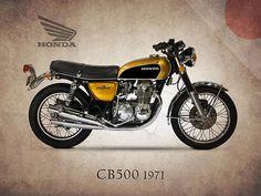 Honda Cb500 1971 Print By Mark Rogan