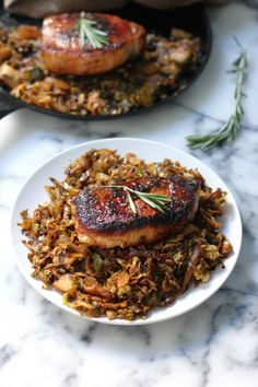 Brown Sugar Rosemary Pork Chops with Caramelized Brussels Sprout, Onion, and Apple Slaw