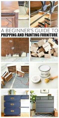 Everything you need to know to repair, prep and paint furniture like a pro! Einrichtungs Upcycling A Beginner's Guide to Painting Furniture Buy Used Furniture, Laminate Furniture, Furniture Wax, Furniture Repair, Refurbished Furniture, Rustic Furniture, Furniture Makeover, Outdoor Furniture, Bedroom Furniture