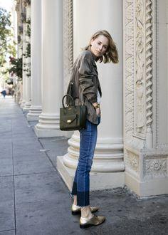 anine bing outfit silk bomber denim city madison handbag look