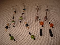 paper and glass bead earrings