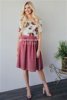 Dark Mauve Polka Dot Modest Skirt for Church, Church Dresses, dresses for church, modest bridesmaids dresses, trendy modest dresses, modest womens clothing, affordable boutique dresses, cute modest dresses, mikarose, modest bridesmaids dresses