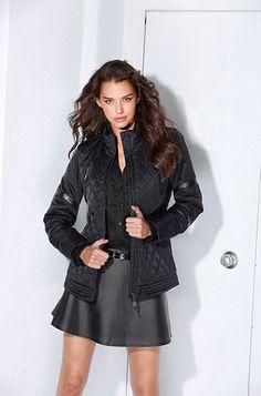 Laura Scott Bunda Feminine Style, Leather Jacket, Coat, Jackets, Fashion, Studded Leather Jacket, Down Jackets, Moda, Leather Jackets