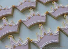 Princess Tiara or Crown Decorated Sugar cookies with sugar accents ( Sugar Cookie Royal Icing, Cookie Icing, Sugar Cookies, Cake Cookies, Birthday Cake Girls, Birthday Cookies, 21st Birthday, Birthday Crowns, Princess Birthday