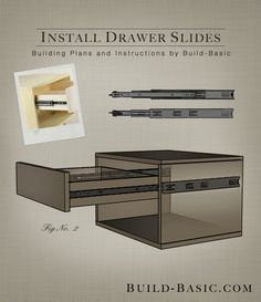 How to Install Drawer Slides - Building Plans by @BuildBasic www.build-basic.com