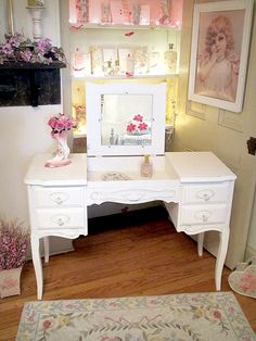 White vanity with hideaway mirror