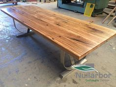 Nullarbor Sustainable Timber offers a range of finely crafted, designer timber tables. Recycled Timber Furniture, Steel Table Legs, Timber Table, Staff Room, Sustainability, Hardwood, Recycling, Tables, Decking