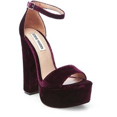 Steve Madden Women's Gonzo Sandals ($100) ❤ liked on Polyvore featuring shoes, sandals, heels, burgundy velvet, steve-madden shoes, burgundy shoes, high heel shoes, ankle strap platform sandals and velvet platform shoes