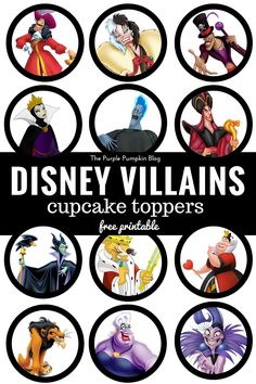 [ Disney Villains Cupcake Toppers Free Printables ] - Best Free Home Design Idea & Inspiration Disney Birthday, Disney Theme, Disney Diy, Disney Crafts, Disney Girls, Birthday Ideas, Evil Disney, 23rd Birthday, Punk Disney