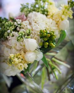 Traditional White and Green Centerpiece