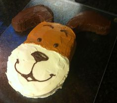 Kipper the Dog birthday cake. Carved from a single round cake.