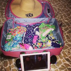 Suitcase full of Lilly! This will SO be me for SB!! So funny that i have this same suitcase also!!