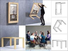 Ivydesign » Foldaway dining table turns into mirror frame