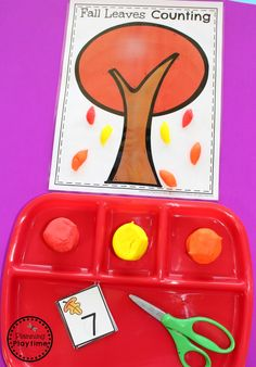 Preschool Counting Center - Cut and Count Playdough leaves Preschool Writing, Fall Preschool, Preschool Worksheets, Preschool Activities, Counting Activities, Teacher Games, Apple Theme, Beginning Of School, Autumn Theme