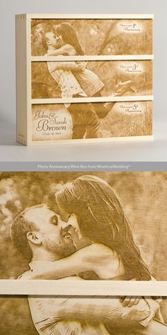 What better way to commemorate the couple than with a beautiful photo of them timelessly engraved into a unique anniversary wine box. | Artificer Wood Works #artificerwoodworks #wineforawedding #anniversarywinebox #weddingwinebox #wineboxceremony #giftingclever
