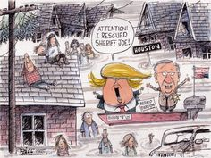 Political cartoon U.S. Trump hurricane Harvey Arpaio