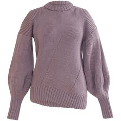 Alejandra Alonso Rojas     Alicia Sweater ($1,295) ❤ liked on Polyvore featuring tops, sweaters, crew neck top, crew sweater, oversized crew neck sweater, purple top and over sized sweaters