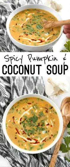 This Spicy Coconut and Pumpkin Soup is perfectly balanced with creamy coconut milk, spicy red pepper flakes and pumpkin's natural subtle sweetness. @budgetbytes