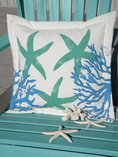 "Outdoor pillow  starfish undersea 20"" shades of blue sea stars coral aqua turquoise painted reef ocean coastal SCUBA Crabby Chris Original"
