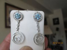 Vintage Stunning 1.75ctw Blue Topaz and Genuine Diamond Accents Solid 925 Dangle Post Earrings, Wt. 5.5 Grams