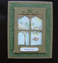 Stampin Up Handmade Fall Window Card All Occasion Uses Embossing Folder | eBay