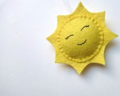 Felt SUN ornament home decoration for kids room smiling Housewarming Baby shower gift for her for him gift idea nursery decor home design - pinned by pin4etsy.com
