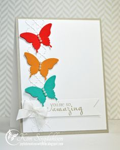 MEMORY BOX Tessatina Border MY FAVORITE THINGS Die-namics Fishtail Flags STAX STAMPIN' UP! Elegant Butterfly VERVE STAMPS Amazing Wishes