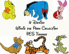 6 design Winnie the Pooh Embroidery Design pattern collection- PES Format - Instant Download $5.99