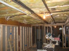Wall framing begins in basement remodeling project