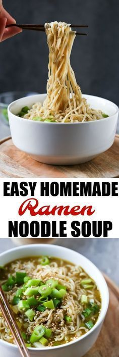 Easy Vegan Ramen Noodle Soup A delicious Easy Homemade Ramen Noodle Soup that is actually healthy, vegan, oil-free and full of fresh ingredients like ginger, garlic and green onions! Only 8 ingredients! You'll never need packet ramen noodles again! Asian Food Recipes, Healthy Food Recipes, Soup Recipes, Whole Food Recipes, Homemade Ramen Noodle Recipes, Ramin Noodle Recipes, Easy Ramen Recipes, Easy Vegan Food, Easy Vegan Meals