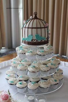 bird cage cupcake theme