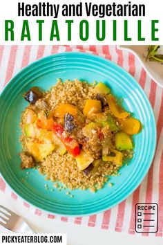 This healthy and vegetarian ratatouille is full of seasonal vegetables simmered in a richly flavored tomato broth. It's full of fresh ingredients, and pairs nicely with quinoa!
