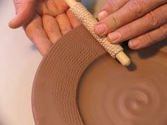 These long and short roped dowels are easy to use and extremely effective. Held between your fingertips like a small rolling pin and using a steady, gentle hand pressure, roll a roped dowel across a soft clay tile in one direction. Turn the tile and roll again; rope-texture a leather-hard pot; plate rims, handle surfaces, vase and cup forms. Use the large dowel for big pots, the small dowel for small ware. Try inlaying slip into the roped surface....clean and glaze over