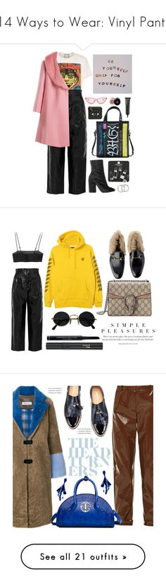 """14 Ways to Wear: Vinyl Pants"" by polyvore-editorial ❤ liked on Polyvore featuring waystowear, vinylpants, Gucci, Balenciaga, Philosophy di Lorenzo Serafini, Shrimps, Dries Van Noten, Topshop, Le Specs and Kenzo"