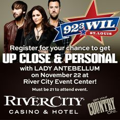 Enter for your chance to win a pair of passes to see Lady Antebellum LIVE at River City Casino & Hotel Event Center on November 22nd at 11am. Enjoy lunch, LIVE music and even snap a photo with Lady A! http://923wil.com/LadyAUpClose SHARE with your friends! #GetYourCountryOn
