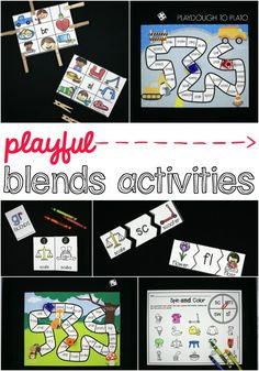 Playful blends activities for kids! So many fun ways to learn the most common blends including CL-, FR- and ST-. Awesome literacy centers or guided reading activities for kindergarten or first grade.