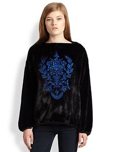"""Faux fur (hey, there's that) """"sweatshirt"""" with pretentious embroidery on it. #fashionfail"""