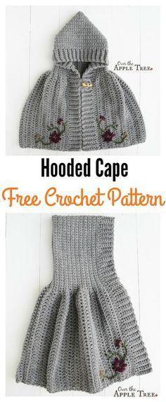 Crochet Hooded Cape Free Pattern for Girl