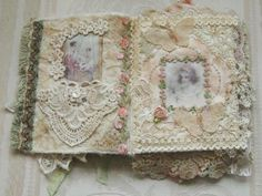 Handmade OOAK Shabby Fabric Journal Antique & New by KISoriginals