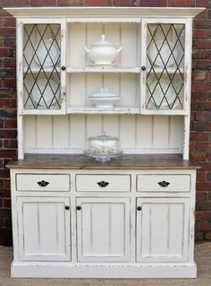 Country Farmhouse French Provincial Buffet AND Hutch Sideboard Dresser White