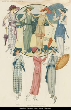 Day dresses, 1919 US, The Delineator The odd apron-type thing is called a Russian blouse. Moda Vintage, Moda Retro, Historical Costume, Historical Clothing, Belle Epoque, Edwardian Fashion, Vintage Fashion, Flapper Fashion, Vintage Dresses